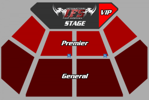 Plan view of IFS stage, and VIP, Premier, and General seating sections.