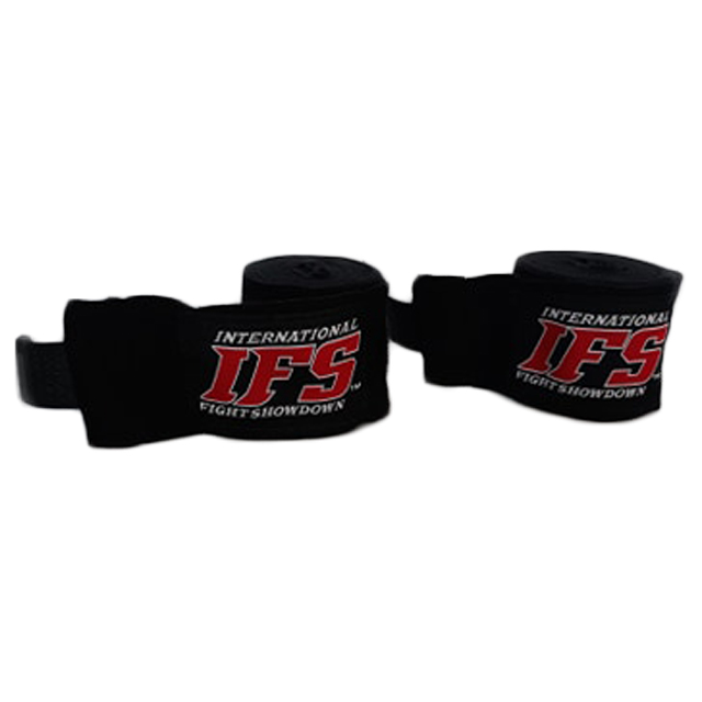 Pair of black hand wraps with red and white IFS block logo on each.
