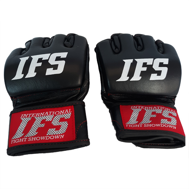 Pair of black leather MMA gloves with white IFS initials and IFS block logo on each.
