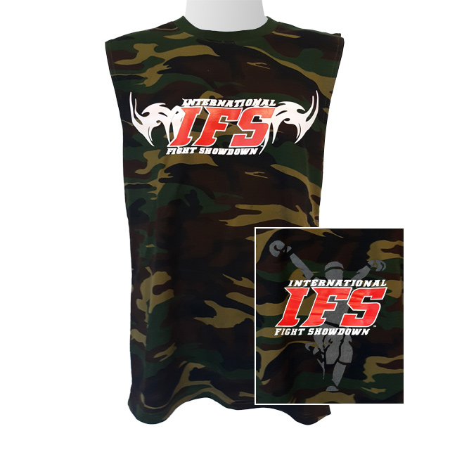 Front of green camouflage sleeveless t-shirt with red and white IFS primary logo across chest. Inset of red, white, and gray IFS fighter logo on back.