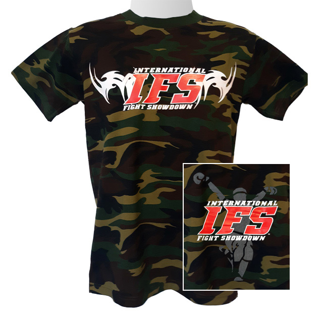 Front of green camouflage t-shirt with red and white IFS primary logo across chest. Inset of red, white, and gray IFS fighter logo on back.