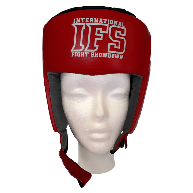 Red leather head gear with white IFS block logo.