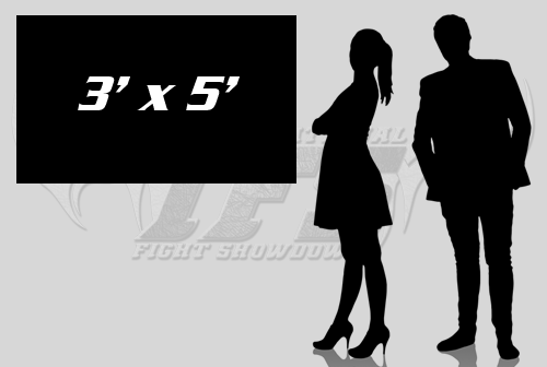 Illustrated scale of 3' x 5' banner next to man and woman.