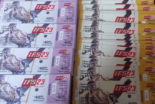 Close-up of IFS tickets