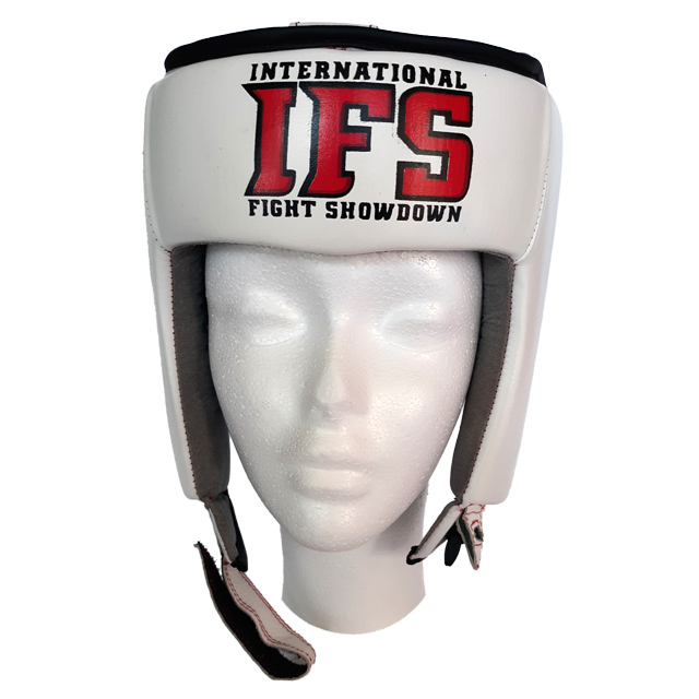 White leather head gear with red and black IFS block logo.