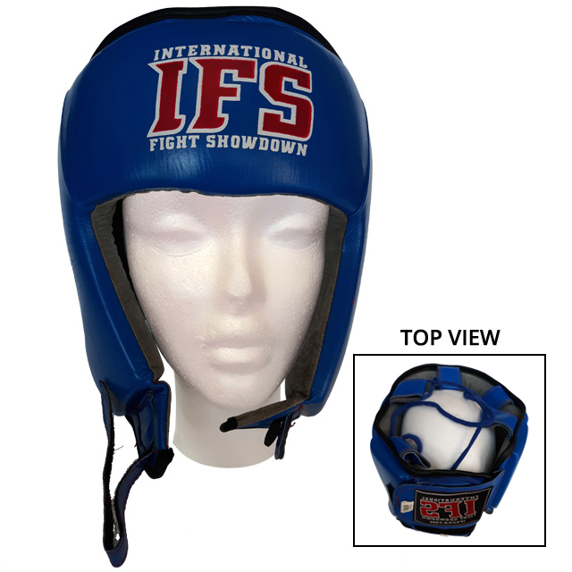 Blue leather head gear with red and white IFS block logo. Inset of top view of head gear.