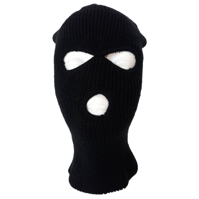 Black knit insulated face mask with openings for eyes and mouth.