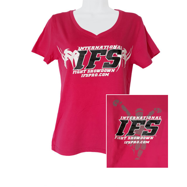 Front of fuscia pink v-neck t-shirt with black and white IFS primary logo across chest. Inset of black, white, and gray IFS fighter logo on back.