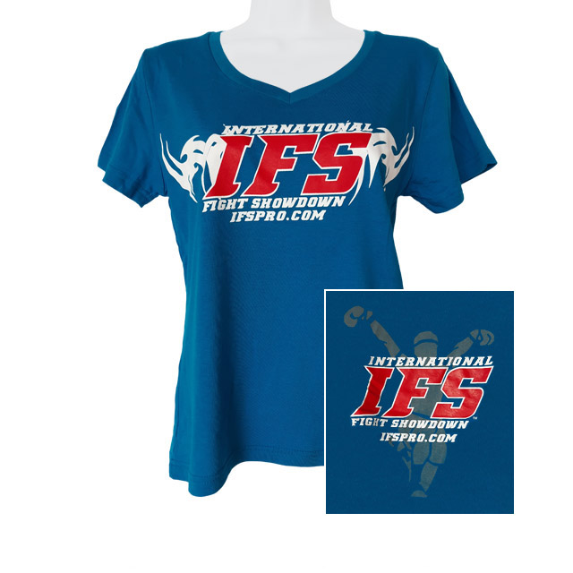 Front of sapphire blue v-neck t-shirt with red and white IFS primary logo across chest. Inset of red, white, and gray IFS fighter logo on back.