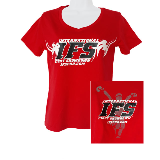 Front of red v-neck t-shirt with black and white IFS primary logo across chest. Inset of black, white, and gray IFS fighter logo on back.