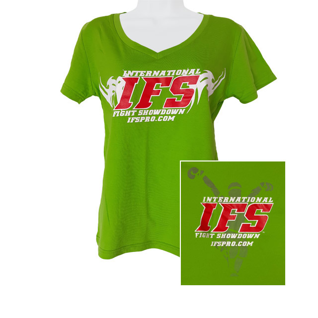Front of lime green v-neck t-shirt with red and white IFS primary logo across chest. Inset of red, white, and gray IFS fighter logo on back.