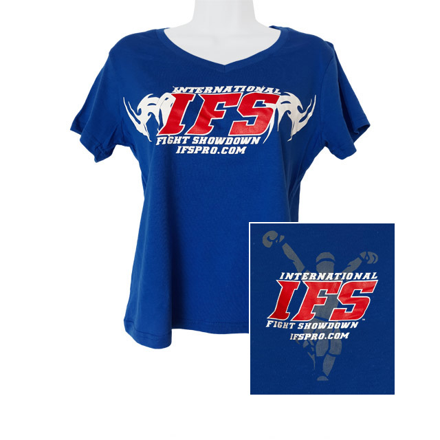 Front of royal blue v-neck t-shirt with red and white IFS primary logo across chest. Inset of red, white, and gray IFS fighter logo on back.