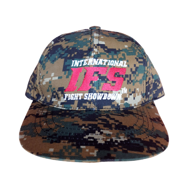 Khaki green baseball cap with digital camouflage pattern and embroidered red and white IFS logo.