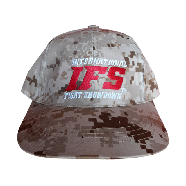 Sand color baseball cap with digital camouflage pattern and embroidered red and white IFS logo.
