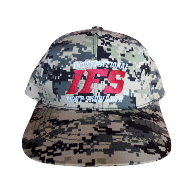 Khaki tan baseball cap with digital camouflage pattern and embroidered red and white IFS logo.