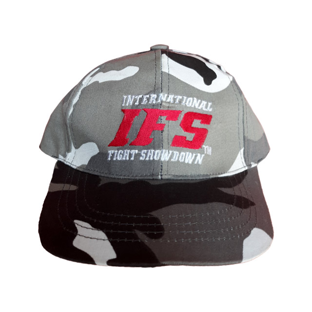 Gray urban camouflage baseball cap with embroidered red and white IFS logo.